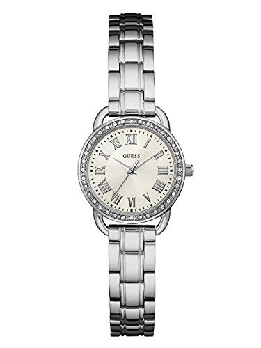 GUESS Womens U0837L1 Dressy SilverTone Watch with White Dial  CrystalAccented Be...
