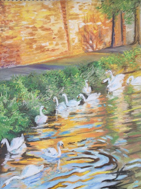 Worcester's Swans at the Magic Hour Fine Pastel by FinePastelKB