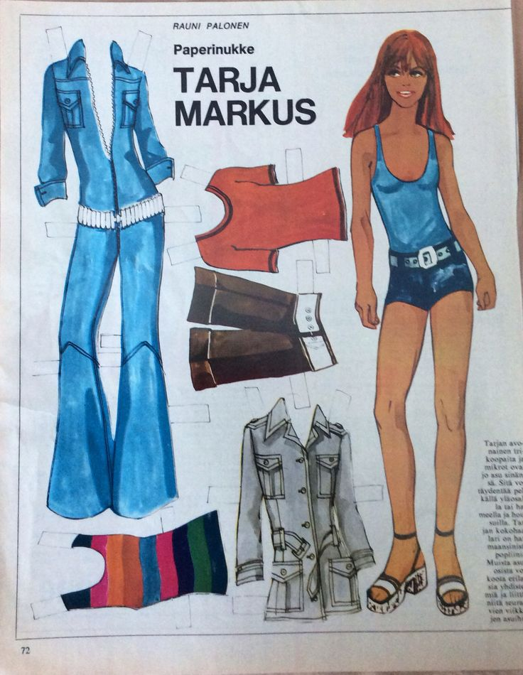 Finnish Paper Doll Tarja Markus was born on January 14, 1946 in Riihimäki, Finland as Tarja-Liisa Antikainen. She is an actress, known for Kamome Diner (2006), Speedy Gonzales - noin 7 veljeksen poika (1970) and Redhead (1969). She has been married to Pertti Roisko since 1978. They have one child. She was previously married to Jorma Markus. 1 of 3