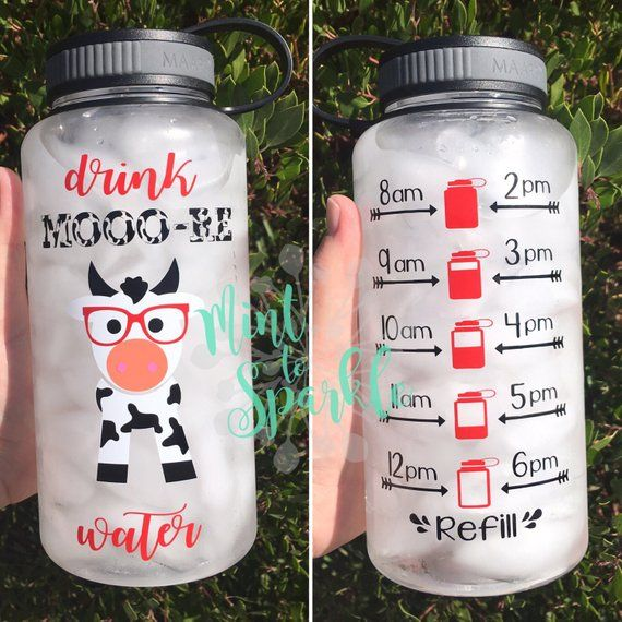 Drink More Water Cow Motivational Water Bottle With Hourly