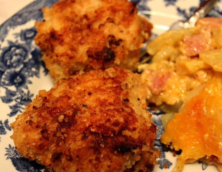 Sweet Tea and Cornbread: Oven Fried Chicken! - buttermilk, ritz crackers, panko, parmesan, ranch mix