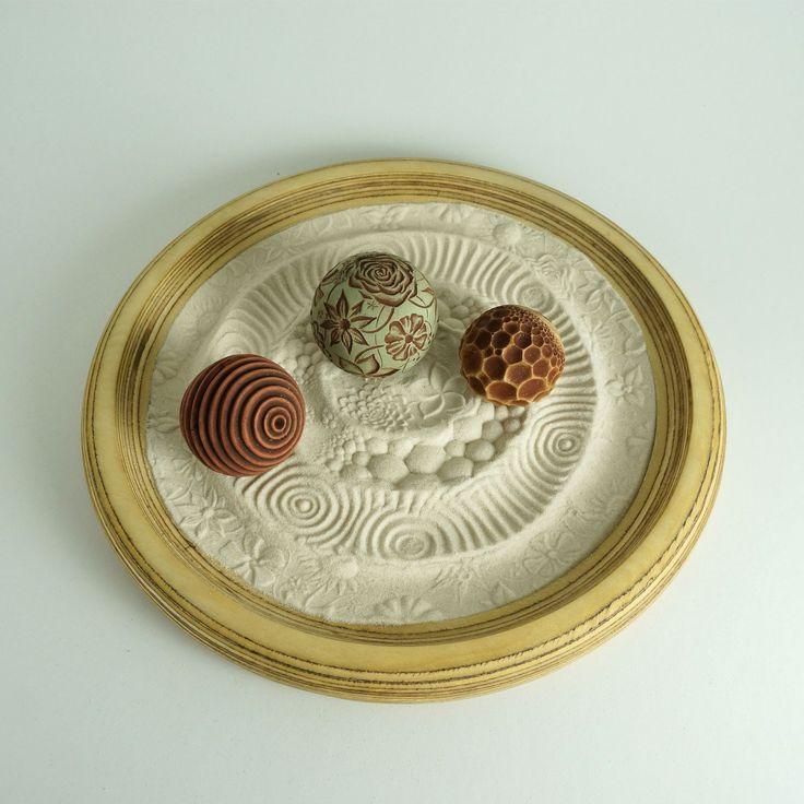 """Desktop Zen Garden, Portland Package: 12"""" Circular Wooden Tray, Sand & 3 Cement Spheres"""