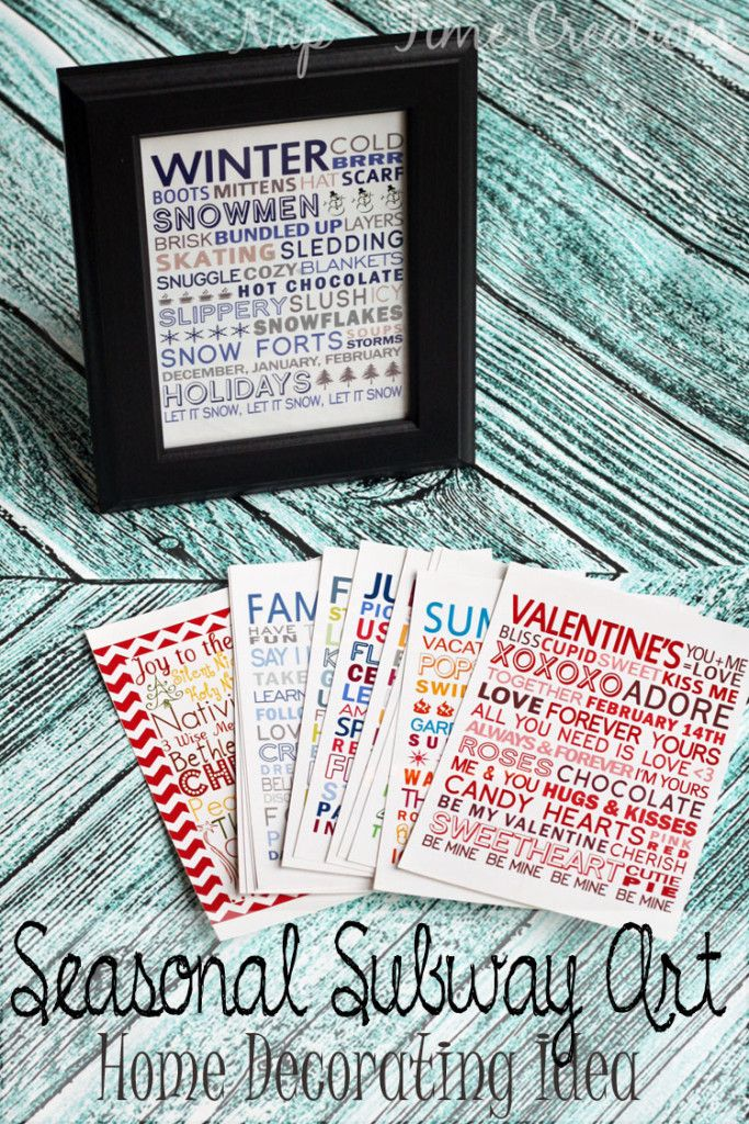 seasonal subway art for home decorating. seasonal home decorating ideas with free printables.
