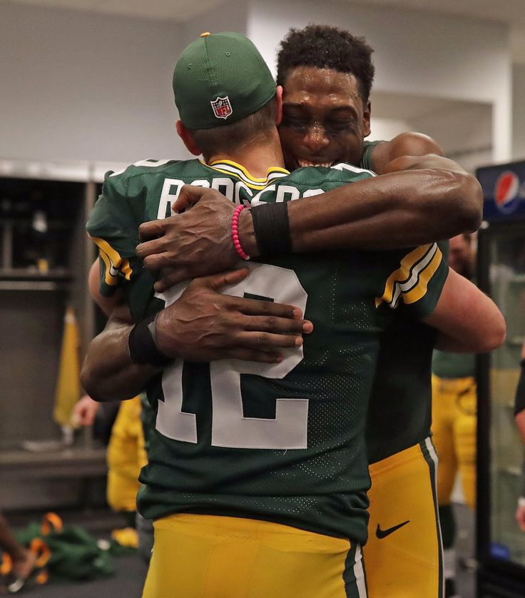 Aaron Rodgers and Jared Cook after playoff win vs. Dallas 1/15/17  Aw....he went to Jared