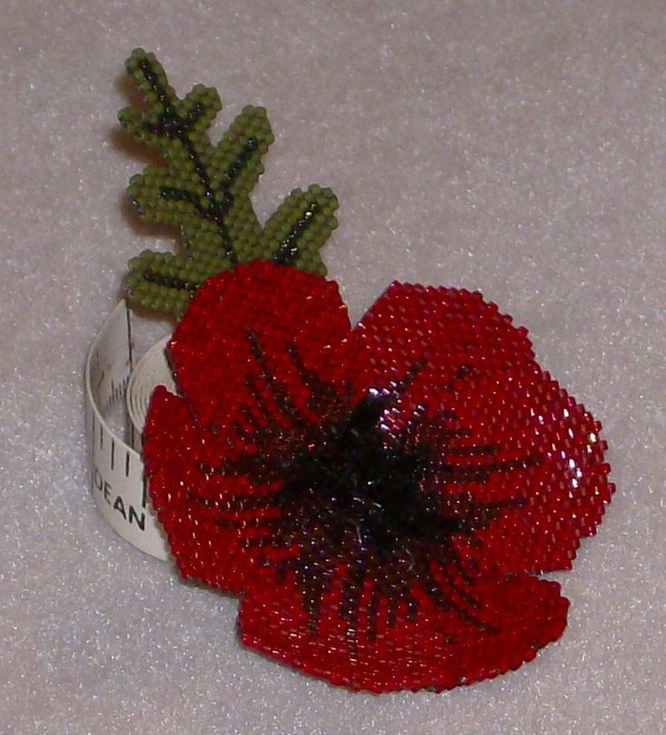 My beaded Poppy which was from the pattern to help raise funds for the Royal ...