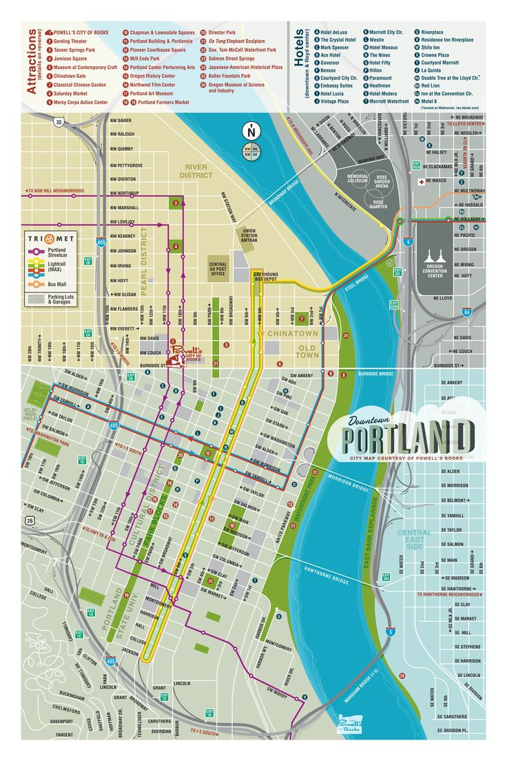 Map Of Downtown Portland  Courtesy Of Powell39s Books