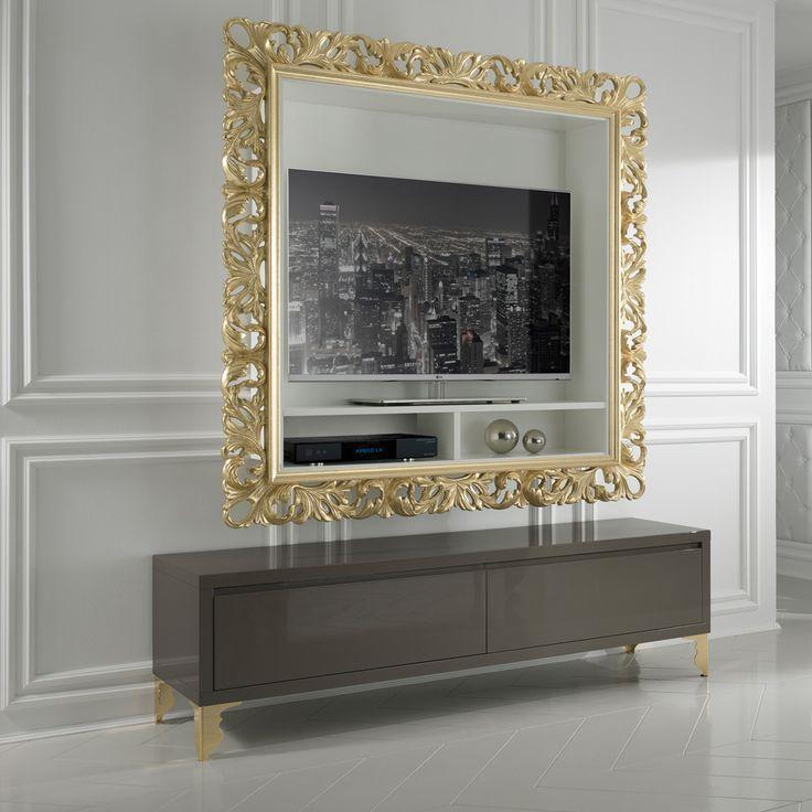 Designer Gold Leaf Rococo Wall Mounted TV Unit