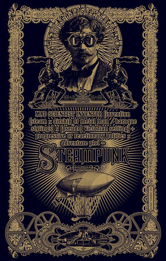 Steampunk poster Art. Steampunk (text by Jeff VanderMeer) 2008. Vector art. A moleskin design for Modofly.