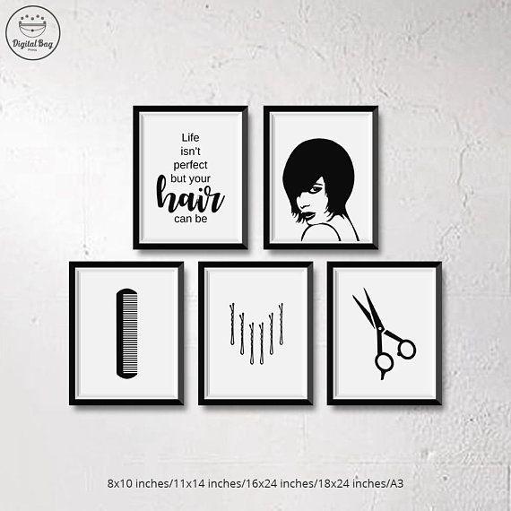 Salon Wall Art Digital Download Prints Set Of 5 Hair Salon Decor