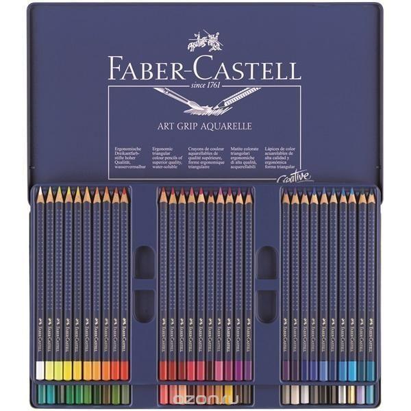 Купить акварельные карандаши art grip aquarelle, набор цветов, в металлической коробке, 60 шт. - детские товары Faber-Castell в интернет-магазине OZON.ru, цена акварельные карандаши art grip aquarelle, набор цветов, в металлической коробке, 60 шт..