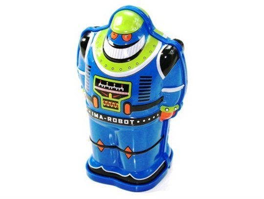 Kleine robot blauw *** Ga terug naar vroeger met deze mooie blikken robot. Nostalgische robot in een retro-uitvoering. Deze favoriete robotjes zijn opwindbaar en gaan traagjes vooruit. Cool speelgoed beschikbaar in de kleuren blauw, rood en grijs.