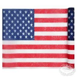 US Bordløber - Amerikansk US tema borddækning - amerikansk flag paptallerken, papkrus, servietter med det amerikanske flag - 4th of july fest bordpynt