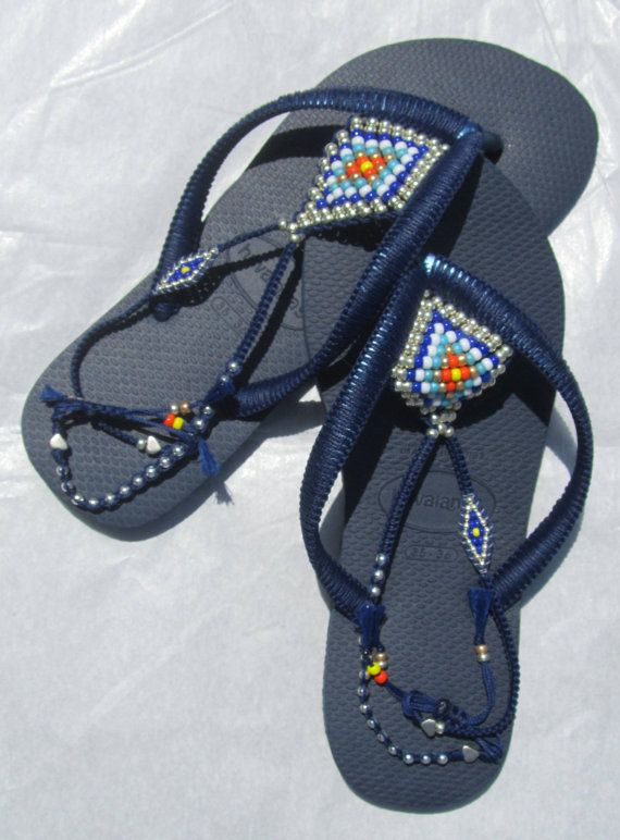 Multi Colored Sterling Silver & Gold Decorated Flip Flop Beaded Flat Sandals…