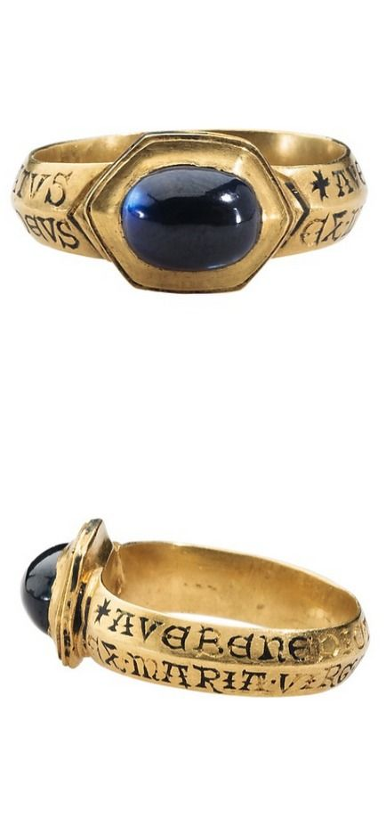 Devotional Ring Date: 13th century Culture: British (?) Medium: Gold and sapphire Dimensions: Height 26.6 mm.; hoop inner diam. 20 mm.; hoop outer diam. 23.5 mm; bezel 10 x 13.4 mm.; weight 8.71 g.