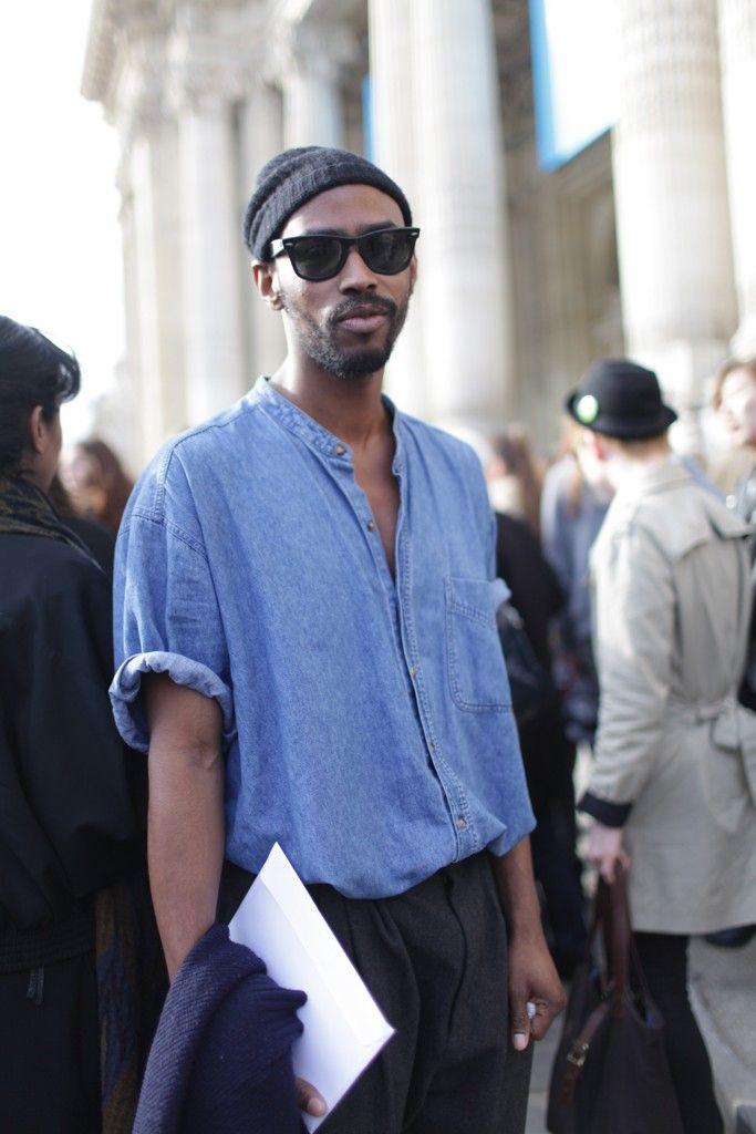 They Are Wearing: Paris Fashion Week F/W 2013 beanie beard sunglasses denim