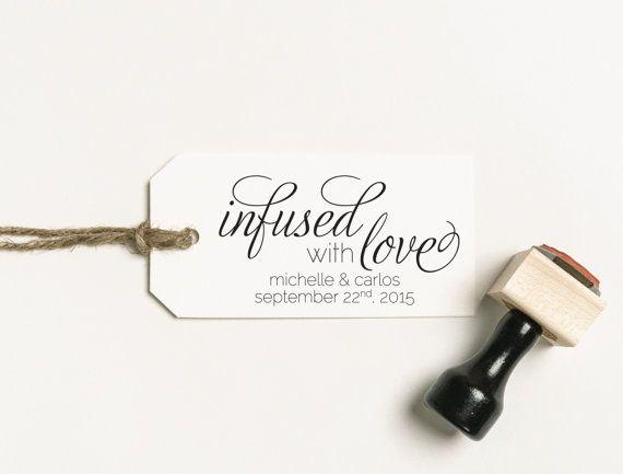 Infused With Love Favor Stamp, Olive Oil Favor Stamp, Tea Bag Favour Stamp, Personalized Stamp, Infused Oil Favor Stamp, Tea Favor (03.003)