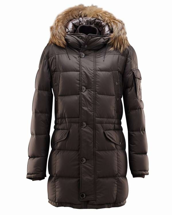 Moncler Gabriel Mens Fur Long Coat Brown [2899990] - £176.29 :