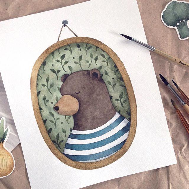 А вот и мишка!) #illustration #illustrations #watercolor #watercolour #art_we_inspire #illustrationartist #illustrationart #illustrationoftheday #illustrationwall #inspiring_watercolors #иллюстрация #scetch_daily #акварель #сейчас_рисую #artist_features #