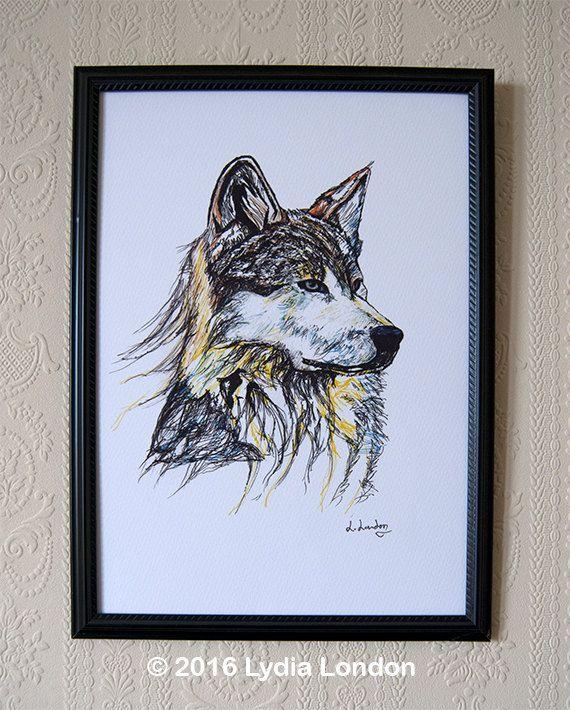 Wolf A4 Print by LydiaLondonArtCanada on Etsy