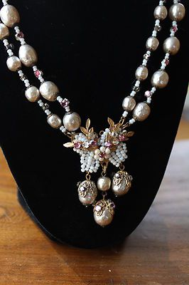 Signed Miriam Haskell Glass Baroque Pearl Glass Bead Necklace Extra Mint | eBay