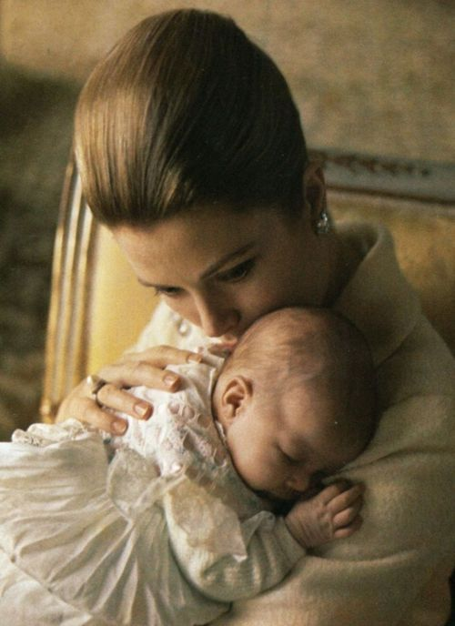 grace&family:  Princess Grace with her newborn daughter Stephanie in March, 1965.