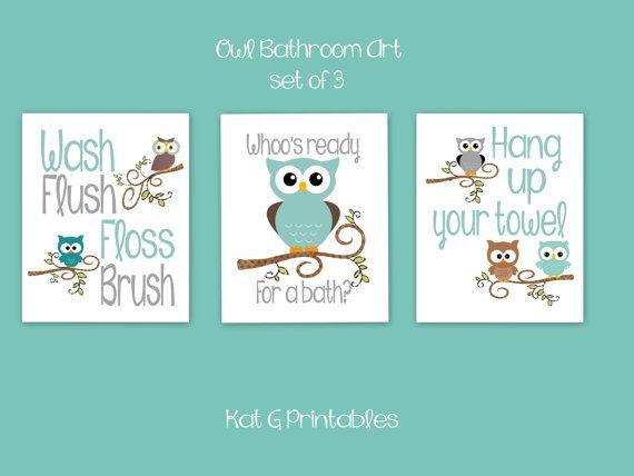 Owl Bathroom Prints, Kids Bathroom, Teal & Gray Owl Decor, Children's Bathroom Wall Art, Wash Flush Floss Brush, Bath Art, Instant Download