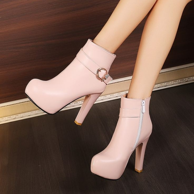 34.66$  Buy here - http://aia27.worlditems.win/all/product.php?id=32735587923 - 2016 New Fashion Sexy Woman Chunky High Heels Comfort Booties Women's Shoes Cheap Black Platform Ankle Boots White Beige Pink