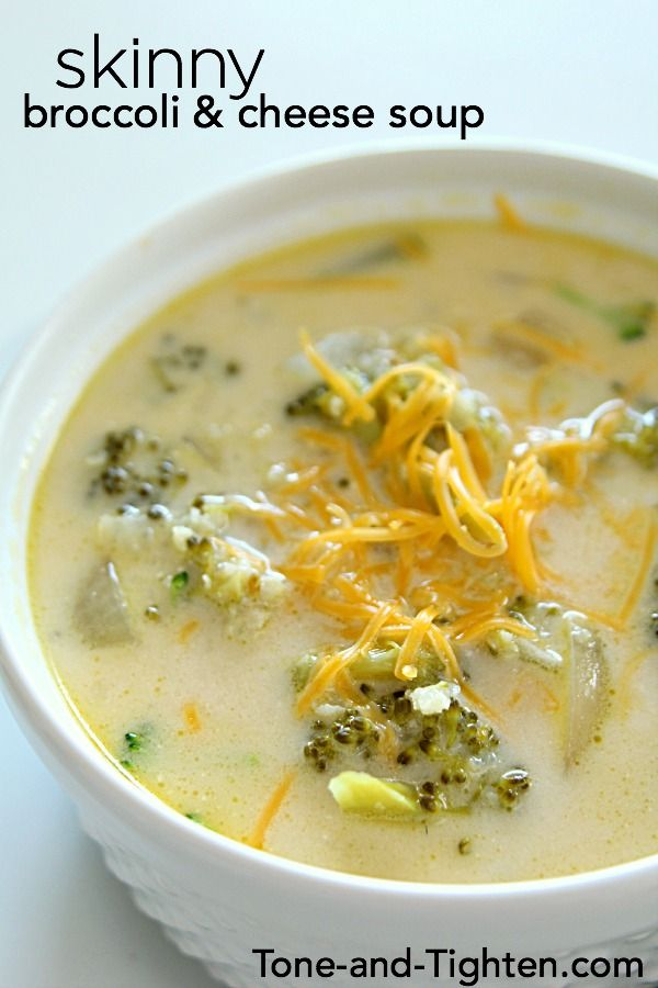 Slow Cooker Skinny Broccoli and Cheese Soup on Tone-and-Tighten.com