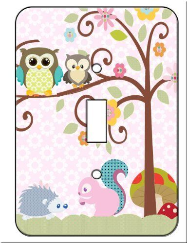 Owl , Squirrel Porcupine Tree Top Friends Single Toggle Switch Wall Plate Cover Switchplate by Scroll Tree, http://www.amazon.com/dp/B005L9ZHP8/ref=cm_sw_r_pi_dp_0DMrqb188CXF8: Plates Covers, Single Toggl, Porcupine Trees, Tops Friends, Toggl Switch, Switch Wall, Trees Tops, Friends Single, Squirrels Porcupine