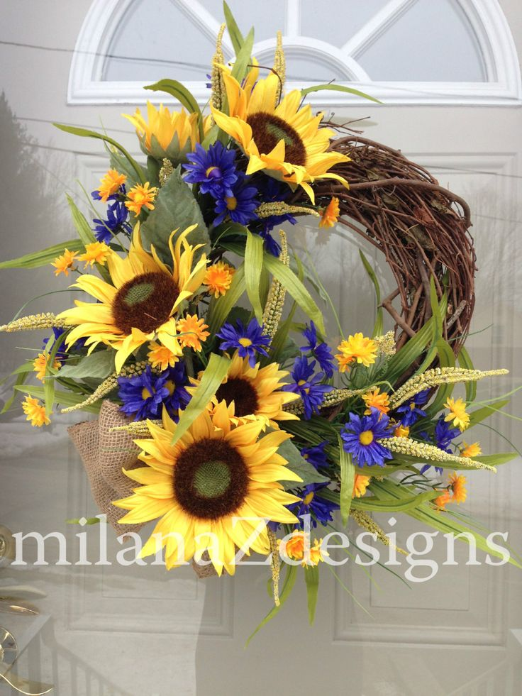 Sunflower Door Wreath, French Country Floral Wreath, Grapevine Summer Decoration, Blue Yellow Flowers, Bridal Shower Hanging Arrangment by milanaZdesigns on Etsy