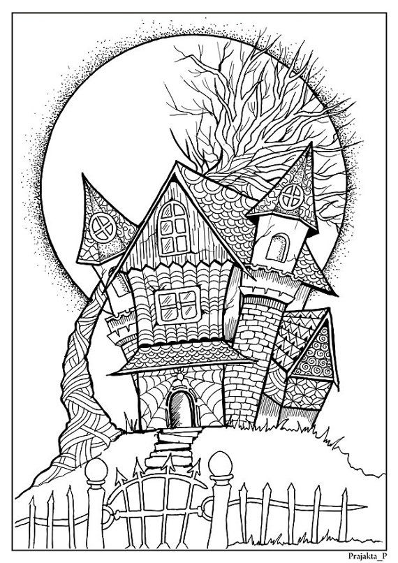 Haunted House Halloween Coloring Pages Printable Halloween Etsy Printable Halloween Art Halloween Coloring Pages Halloween Coloring