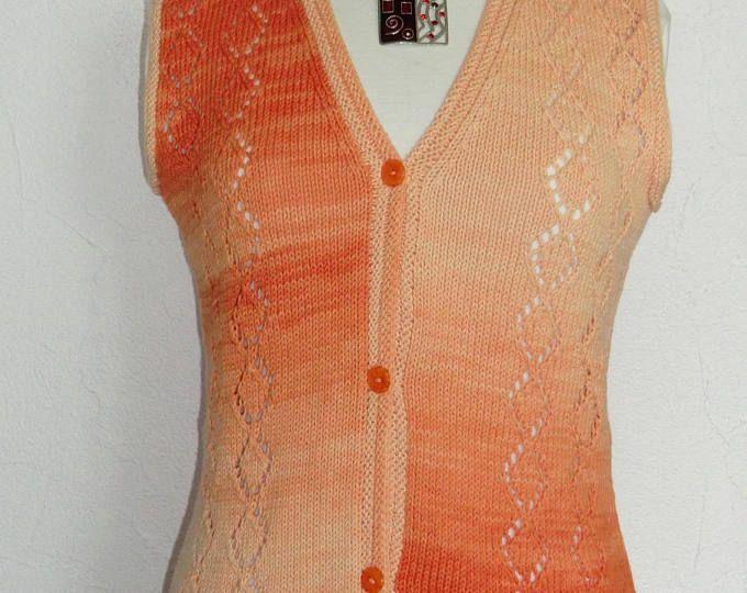 Gilet d'été sans manches - Femme - 100% coton d'égypte - Coloris orange - Point fantaisie ajouré - Taille 38 - 40 - Tricoté à la main