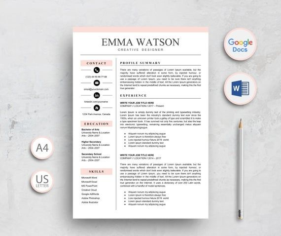 Resume Template Google Docs Resume Template Instant Download Professional Resume Template For