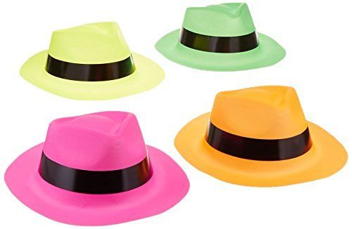 12 Pack Neon Coloured Gangster Hats