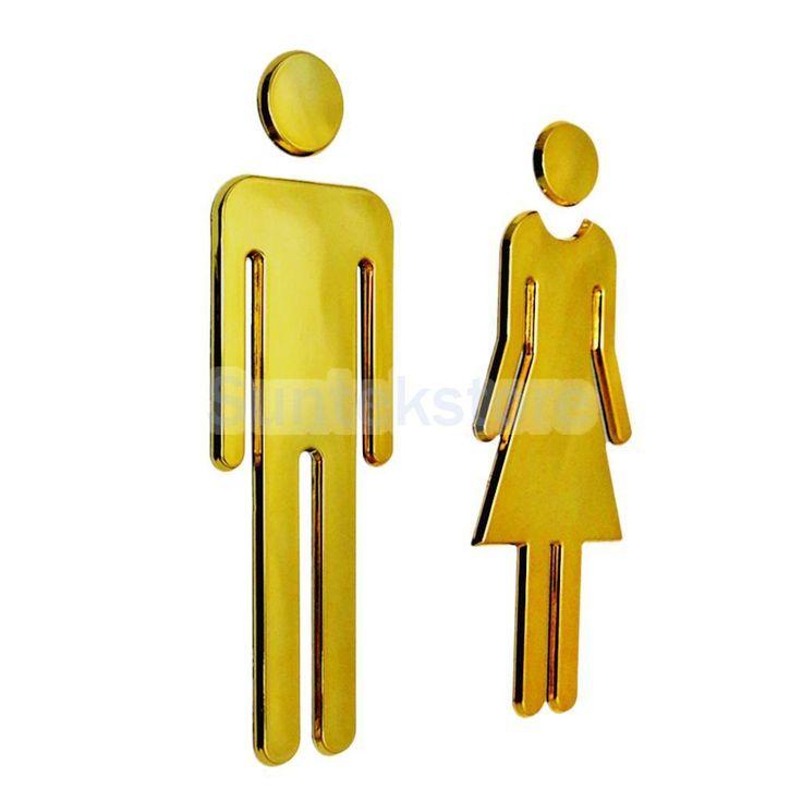 2Xwc Toilet Door Wall Stickers Signs Restroom Washroom Signage Decals Golden