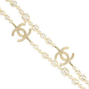 CHANEL - a two-row imitation pearl necklace.