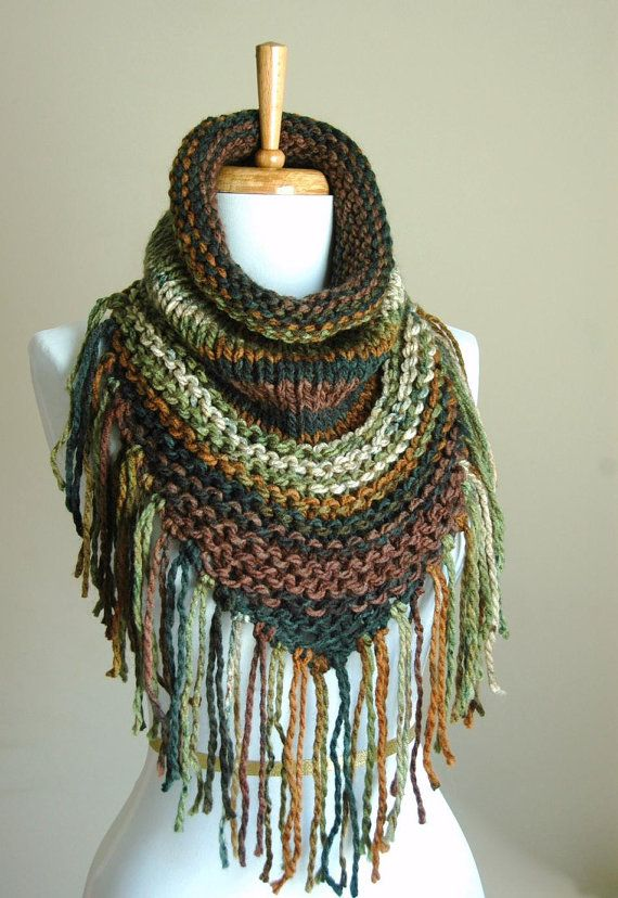 Brown Green Knit Triangle Cowl with Fringe, Knit Scarf, Chunky Scarf with Fringe in Woodland Green Brown, Women's Winter Scarf, Vegan Scarf