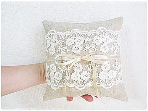 Burlap ring pillow cushion with cream lace natural rustic linen wedding pillow by KawaiiSakuraHandmade on Etsy https://www.etsy.com/listing/195753928/burlap-ring-pillow-cushion-with-cream