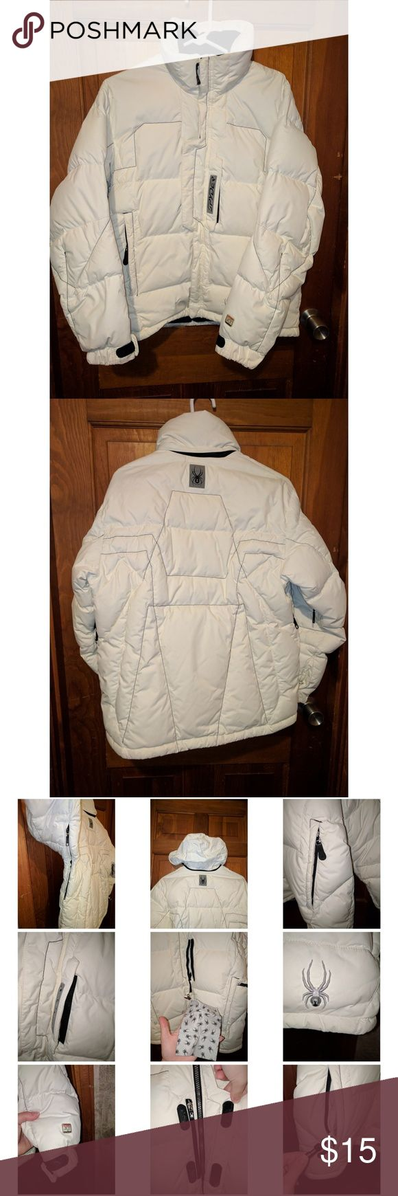 Spyder Off-White Down Puffer Ski/Snowboard Jacket Off-White Down Puffer Ski/Snowboard Jacket by Spyder, Has Many Technical Features Shown in Photos, has some small dark marks (shown in photos) that are not noticeable Spyder Jackets & Coats Puffers
