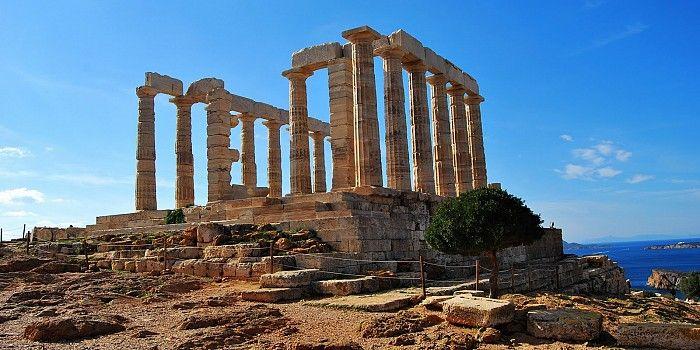 The iconic Temple of Poseidon at #Cape_Sounio