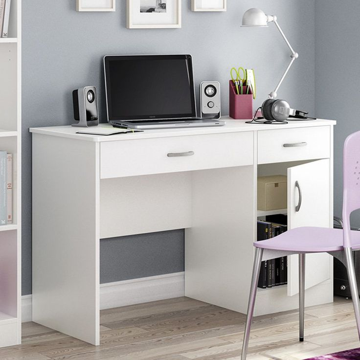 South Shore Axess Collection 47W in. Small Desk - Pure White | from hayneedle.com