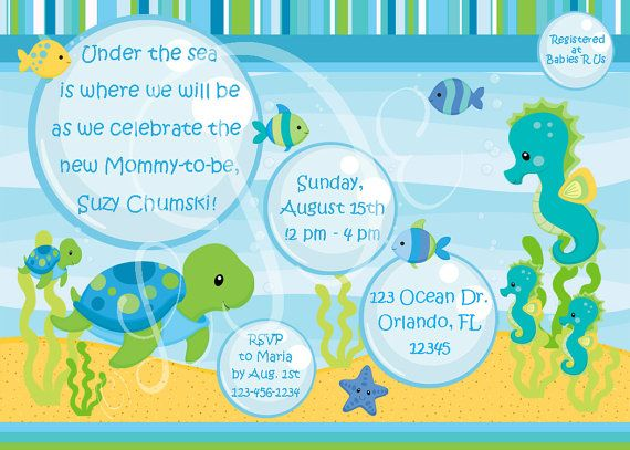 Under The Sea Baby Shower Invitations Template WbZUQAty