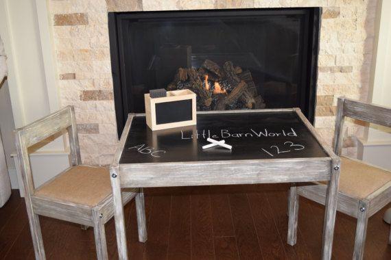 Rustic Children's Table, Chalk Table Top, chalk board, children decor, rustic table, burlap chairs, children furniture by littlebarnworld. Explore more products on http://littlebarnworld.etsy.com