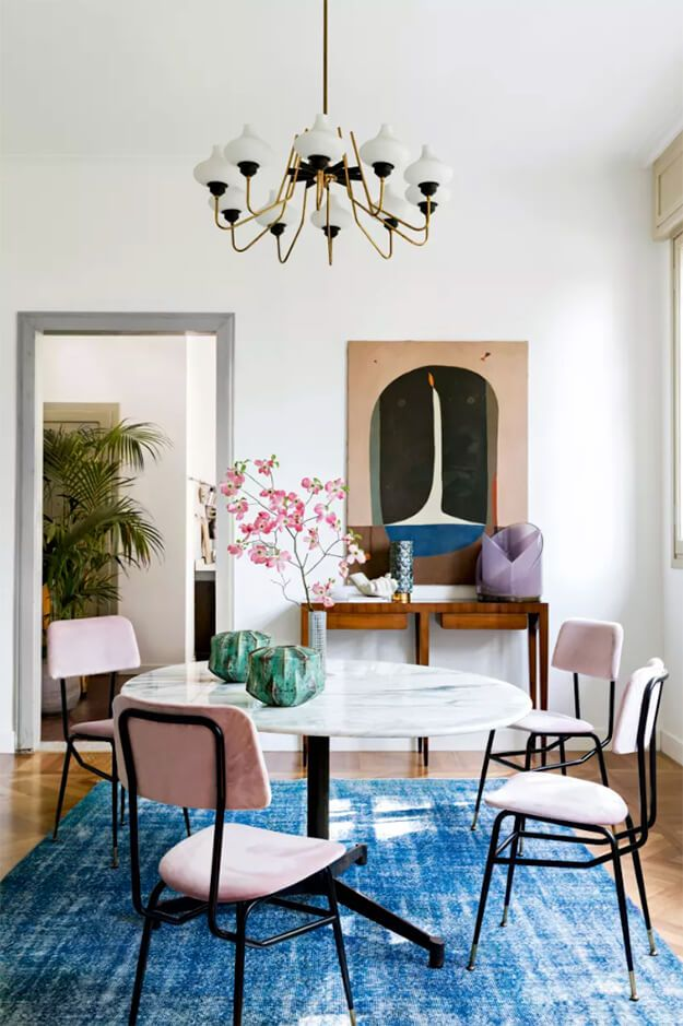 Quirky And Colourful Dining Room Filled With Art Traditional