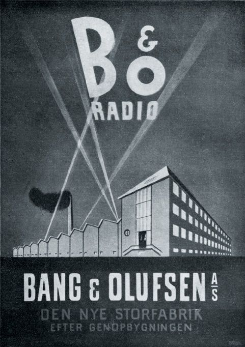 Poster from 1948 featuring the new Bang & Olufsen factory.