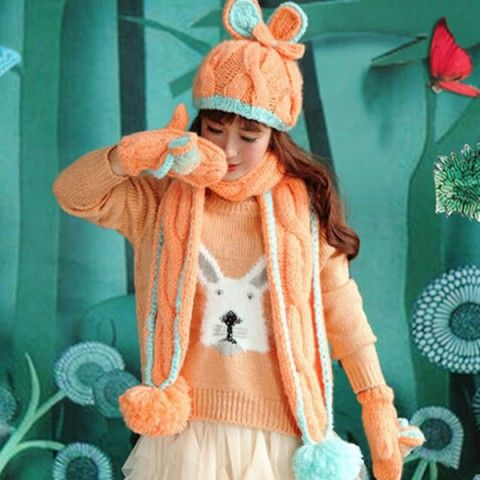 Orange rabbit ear hat scarf and gloves set for girls winter wear