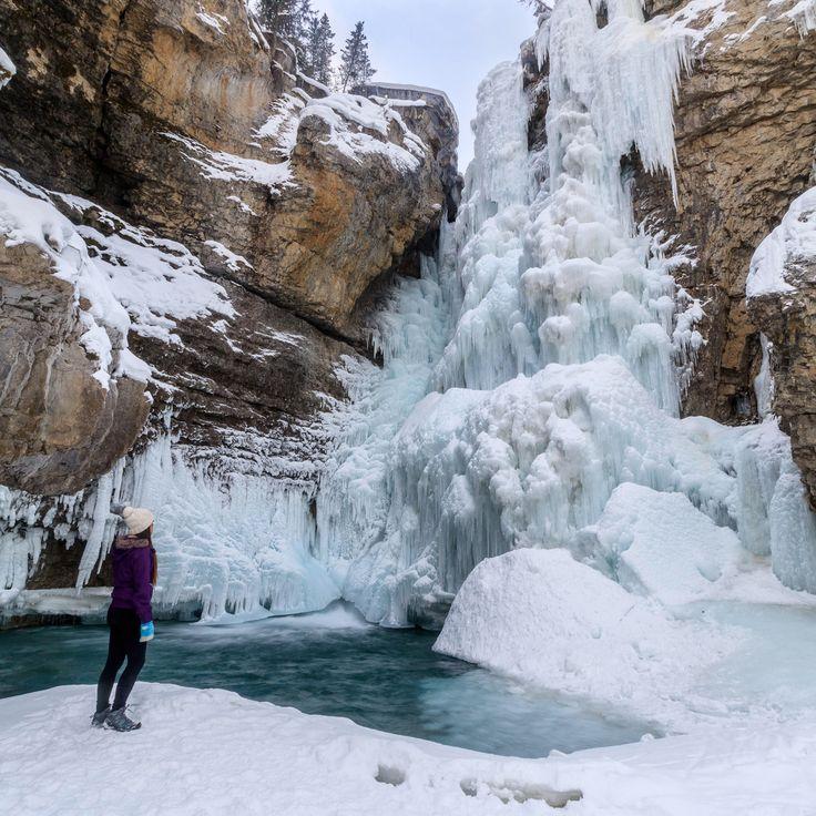 Banff winter frozen waterfall