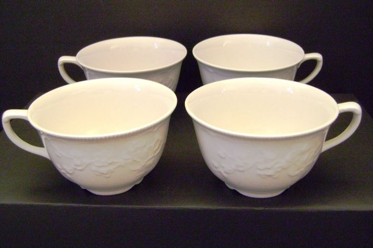 Set of 4 Johnson Brothers China Tea Coffee Cups Ivory Cream Embossed Floral JB73 #JohnsonBrothers