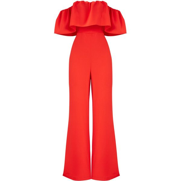 Amanda Uprichard Red Delilah Jumpsuit ($25) ❤ liked on Polyvore featuring jumpsuits, red jump suit, jump suit, red jumpsuit and amanda uprichard