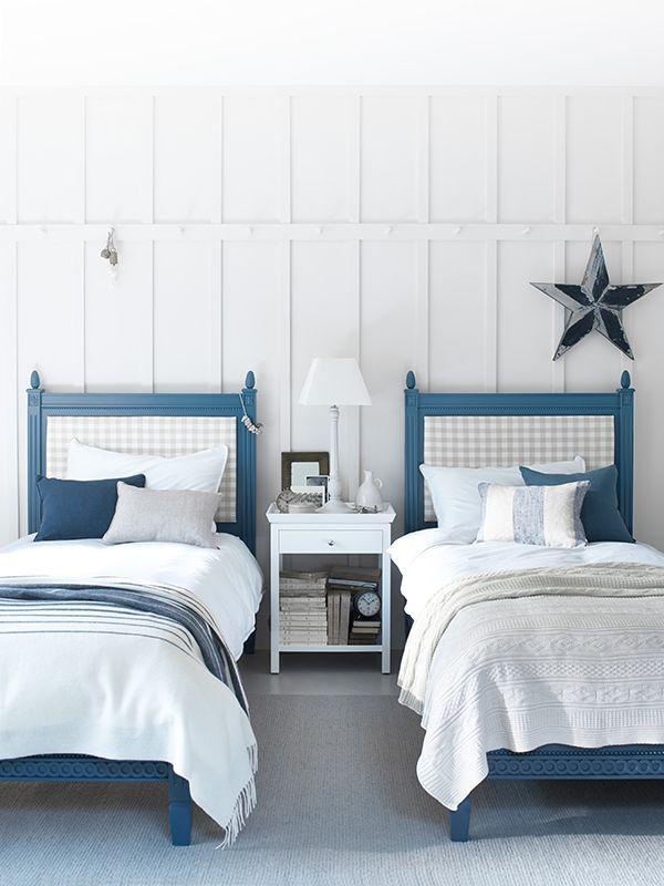 Larsson beds in Blakeney Blue neptune bedroom